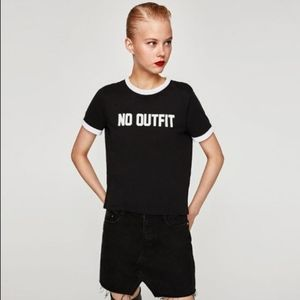 Zara Cropped Ringer Black Tee No Outfit